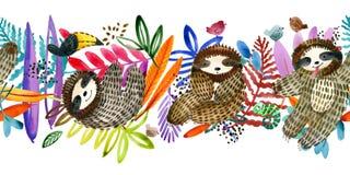 Gullig sengångare och sömlös modell för tropisk växt tropiskt vektor illustrationer
