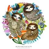 Gullig sengångare och tropisk natur royaltyfri illustrationer