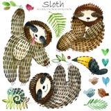 Gullig sengångare och tropisk natur stock illustrationer