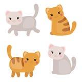 gullig set för katter royaltyfri illustrationer