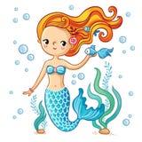 Gullig simningtecknad filmsjöjungfru stock illustrationer