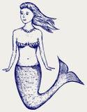 Gullig sjöjungfru för illustration Royaltyfria Bilder