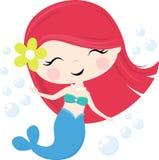 Gullig sjöjungfruflicka med bubblor Fotografering för Bildbyråer