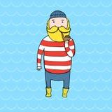 Gullig skäggig sjöman med ett rör vektor illustrationer