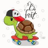 Gullig sköldpadda med ett rött lock royaltyfri illustrationer