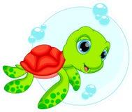 Gullig sköldpaddatecknad film Arkivbild