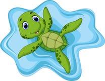 Gullig sköldpaddatecknad film Fotografering för Bildbyråer