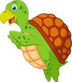 Gullig sköldpaddatecknad film Stock Illustrationer
