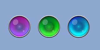 Gullig skinande ögonknapp med uppsättningen för silvergränsvektor stock illustrationer