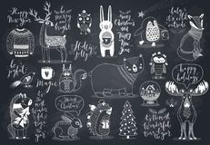 Gullig skogdjuruppsättning - svart tavlastil royaltyfri illustrationer