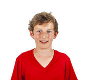 Gullig skratta lycklig pojke som isoleras på vit royaltyfri fotografi