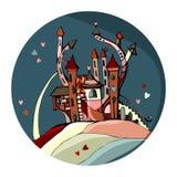 Gullig slott för valentindag Härligt cirkelkort med fen Arkivfoton