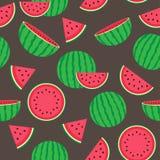 Gullig sömlös modell med vattenmelon Arkivbild