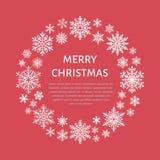 Gullig snöflingaaffisch, baner Vertikalt fotografi Plana snösymboler, snöfall Trevliga snöflingor för julbaner, kort nytt år vektor illustrationer