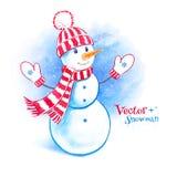 Gullig snögubbe för vattenfärg Royaltyfri Foto