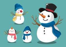 Gullig snögubbeuppsättning för jul royaltyfri illustrationer