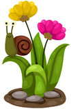 Gullig snigel med blommor Royaltyfria Foton