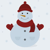 Gullig snowman Royaltyfri Illustrationer