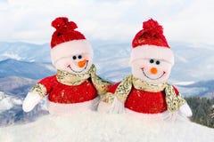 Gullig snowman - julvykort Fotografering för Bildbyråer