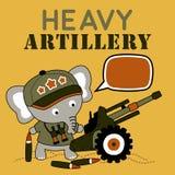 Gullig soldattecknad film med tungt artilleri royaltyfri illustrationer