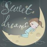 Gullig sova flicka på månen Arkivfoto