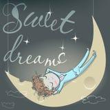 Gullig sova flicka på månen Arkivfoton