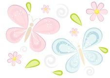 Gullig sparkling fjärilsbakgrund Fotografering för Bildbyråer