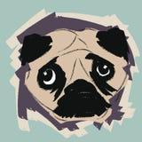gullig ståendemops Hundhuvud Mopsframsida royaltyfri illustrationer