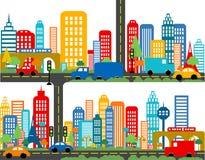 Gullig stadsöversikt stock illustrationer