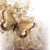 Gullig stilfull blom- bakgrund med fjärilen Arkivfoto