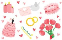Gullig & stilfull bröllopobjektuppsättning stock illustrationer