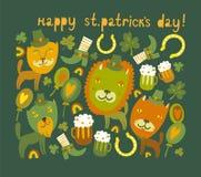 Gullig Sts Patrick dagbakgrund med katter Fotografering för Bildbyråer
