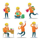 Gullig student Cartoon Character Set Tonåring med boken vektor illustrationer