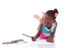 Gullig svart afrikansk amerikanliten flickateckning - afrikanskt folk Royaltyfri Fotografi