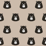Gullig svart björn för sömlös modell royaltyfri illustrationer