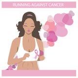 Gullig svart flickaspring mot cancer Plan illustration av en kvinna i vektor Medicinsk aktionsymbol royaltyfri illustrationer