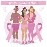 Gullig svart flickaspring mot cancer Plan illustration av en kvinna i vektor Medicinsk aktionsymbol stock illustrationer
