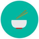 Gullig symbol för bunke och för pinne i moderiktig plan stil på färgbakgrund Kitchenwaresymbol för din design, logo, UI Vect stock illustrationer
