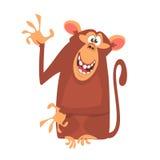 Gullig symbol för tecknad filmapatecken Samling för löst djur Vinkande hand och framlägga för schimpansmaskot royaltyfria bilder