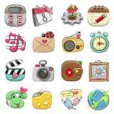 Gullig symbolsuppsättning för rengöringsduk och mobil App vektor illustrationer
