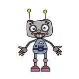 Gullig tappningrobot också vektor för coreldrawillustration Royaltyfri Foto