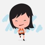 Gullig tecknad film av flickan för maratonlöpare Arkivbilder