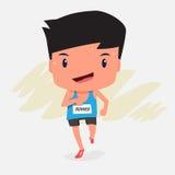 Gullig tecknad film av mannen för maratonlöpare Arkivfoton