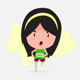 Gullig tecknad film av maratonlöparen Royaltyfri Bild