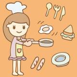 Gullig tecknad film för flickamatlagningfrukost Arkivfoto