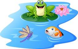 Gullig tecknad film för grön groda på ett liljablock royaltyfri illustrationer