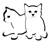 Gullig tecknad film för liten katt två Arkivfoto