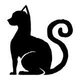 gullig tecknad film för svart katt stock illustrationer