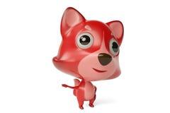 Gullig tecknad film Firefox, illustration 3D Fotografering för Bildbyråer