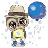Gullig tecknad film Owl Boy med ballongen royaltyfri illustrationer
